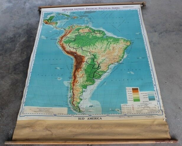 Vintage Pull Down School Map - Canvas Backed - SUD (South) America