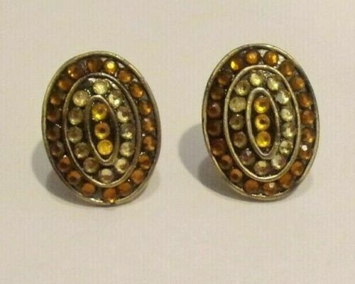 Vtg Style,Dark & Light Amber Color Faux Crystals,Bronze Tone Metal Clip Earrings