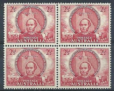 Australia 1946 Sc# 203 Thomas Mitchell red Queensland exploration block 4 MNH
