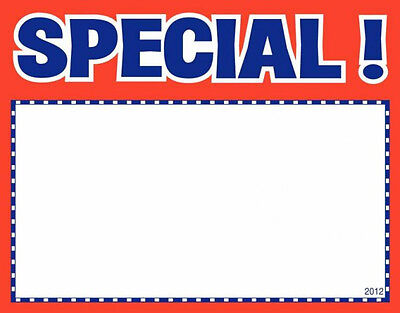 100 Special 3.5 X 5.5 Classic Red Blue Accents Retail Value Sale Signs Cards