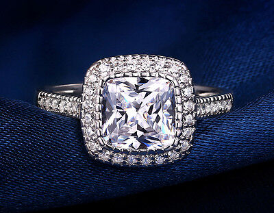 Cushion Cut Solitaire Engagement Ring 2 CT D/1VVS 14K Real White Gold