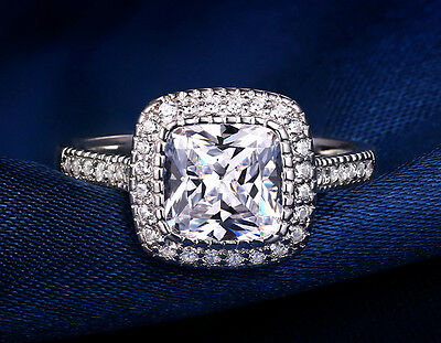 Cushion Cut Solitaire Diamond Engagement Ring 2 CT D/1VVS 14K Real White Gold