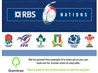 Wales vs Scotland - RBS Six Nations 2018 -- Read the ad description before replying!!