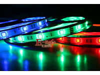 New 12V / 24V LED Strip Lights With Power Adapter, Optional Colours, 5 Meters, Self Adhesive Tape