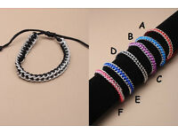 Silver coloured chain and cord friendship bracelet - JTY072