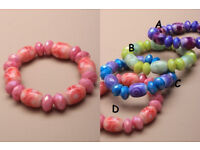 Facetted bead and printed bead stretch bracelet - JTY068