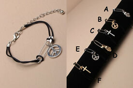 Black corded bracelet with safety pin and charm - JTY089