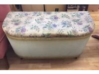 Vintage padded top Lloyd loom ottoman blanket box