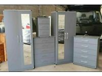 👌FULLY ASSEMBLED BEDROOM SETS👌 INCLUDES 2 DOOR WARDROBE, CHEST OF DRAWERS AND BEDSIDE IN COLOURS