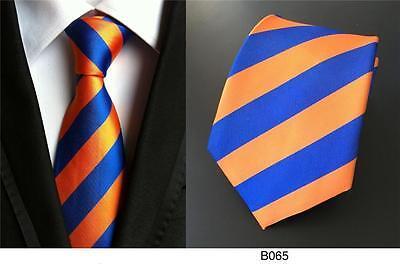 Blue and Orange Stripe Patterned Handmade 100% Silk Wedding Tie 8cm Width - Blue And Orange Wedding