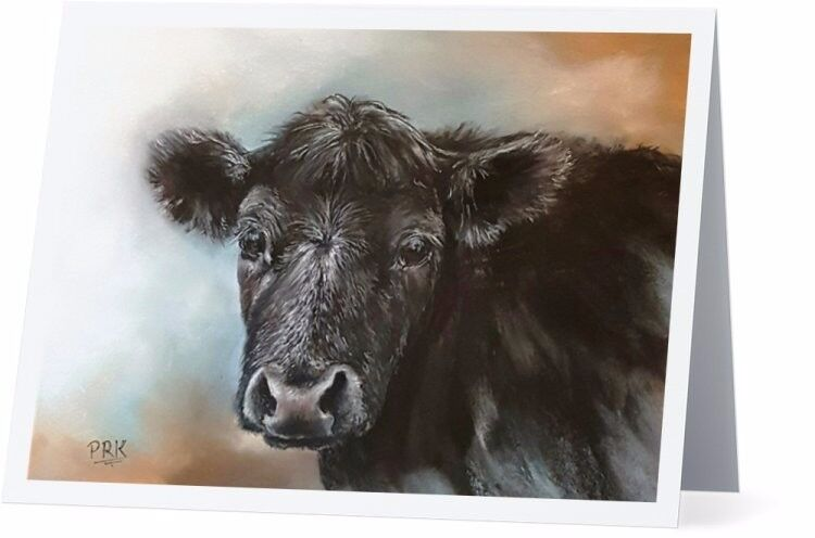 Mercedes the Black Angus Folded Note Cards