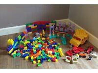 Unisex mega blocks bundle with, big yellow bus, Disney princesses, animals, cars, digger