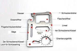 Survival Multitool Outdoor Camping Werkzeug Survival Kit Scheckkarte 203-0003