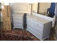 Solid Pine Bedroom Furniture ~ Light Grey ~ 3 Piece~ Single Bed ~ New Mattress