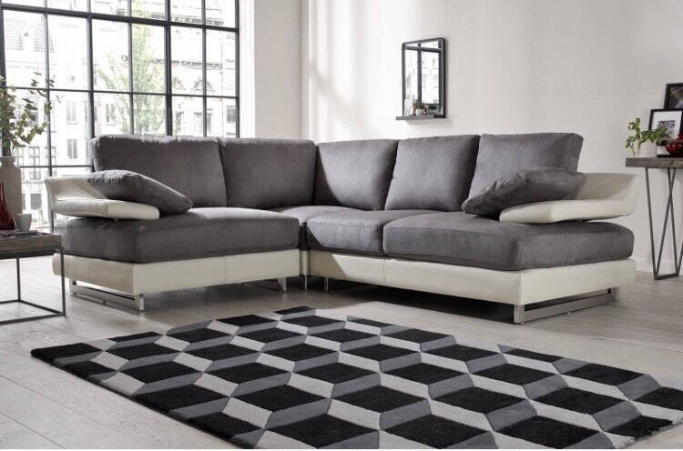 Raphael Sofa Works Grey Suede And Cream Leather Corner