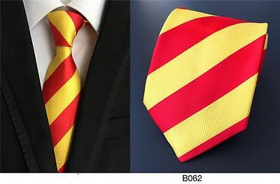 (Red and Yellow Stripe Patterned Handmade 100% Silk Wedding Tie)