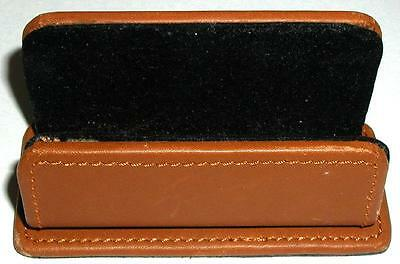 Brown Leather Business Card Holder Felt Lined
