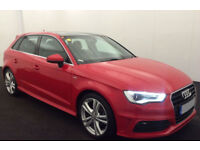 Red AUDI A3 SALOON 1.4 1.6 1.8 2.0 TFSI Petrol S LINE FROM £62 PER WEEK!