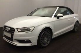White AUDI A3 CABRIOLET 1.4 1.6 1.8 2.0 TDI Diesel S LINE S-T FROM £67 PER WEEK!