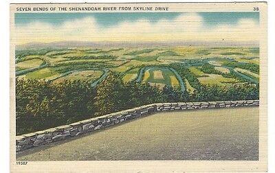 Ca 1930S 40S Postcard Seven Bends Of The Shenandoah River From Skyline Drive  Va
