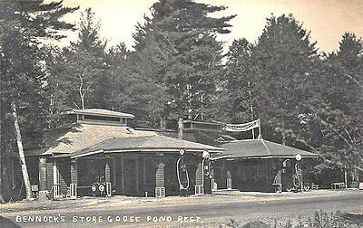 Goose Pond ME Bennock's Store Tydol Gas Station Pumps Real Photo RPPC Postcard