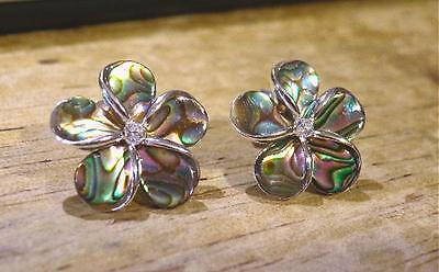 16mm Solid Sterling Silver Paua Abalone Shell Hawaiian Plumeria CZ Stud - Abalone Sterling Silver Earrings