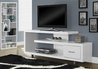 "60"" TV TABLE IN TAUPE, CAPUCCINO OR WHITE WOOD WITH CHROME FEET"