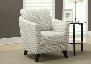 ACCENT CHAIR IN GREY & BEIGE LINEN FABRIC FOR OLY 225$