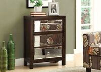 Accent table in brown antic wood & mirrors