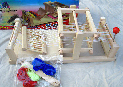 Chinese Traditional wooden table weaving loom Machine Model Hand Craft Wood Toy