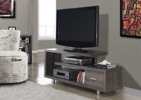 "TV STAND 60"" available in white, dark brown or taupe grey color"