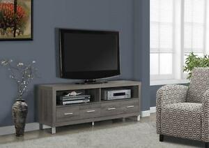 LORD SELKIRK FURNITURE - DARK TAUPE RECLAIMED-LOOK 60L TV CONSOLE WITH 4 DRAWERS