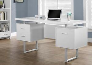 WHITE / SILVER METAL 60L OFFICE DESK