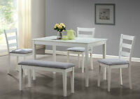 5 PIECE WHITE DINING ROOM SET