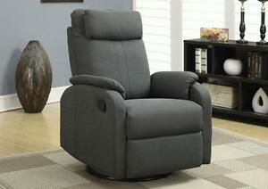 $389 - CHAISE BERCANTE INCLINABLE PIVOTANTE - GRIS