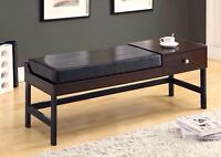 Espresso leather bench with wood table & drawer