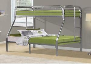 $319 - SILVER METAL TWIN / FULL BUNK BED ONLYSILVER METAL