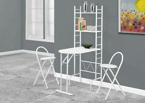DINING SET – 3PCS SET / WHITE TOP / WHITE METAL