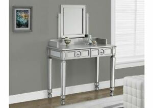 Monarch Specialties Brushed Silver/Mirrored Vanity, New