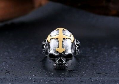 Mens Gothic Skull Cross Ring Silver Gold Stainless Steel Biker Jewelry Ring Band