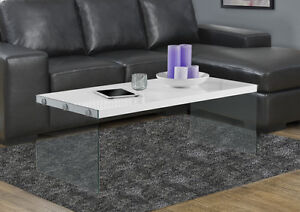 COFFEE TABLE IN WHITE GLOSSY WOOD WITH TREMPED GLASS