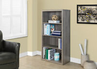 "SMALL BOOKCASE 48"" IN TAUPE WOOD WITH ADJUTABLE SHELVES"