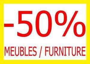 - 50% MEUBLES/FURNITURE MEGASALE TABLES,TV STANDS,CHAISES