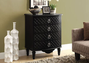 ACCENT CHAEST WITH 4 DRAWERS IN BLACK ANTIQUE WOOD