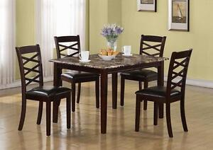 DARK CHERRY MARBLE VENEER 5PCS DINING SET