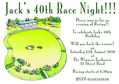 Race Night Horse Racing Birthday Party Personalised Invitations x 12 H1102 (Horse Racing Birthday Invitations)