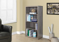SMALL BOOKCASE 43 INCH IN TAUPE WOOD WITH ADJUSTABLES SHELVES
