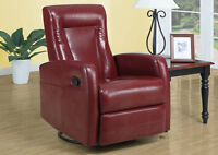RECLINER SWIVEL & ROCKER CHAIR IN RED BONDED LEATHER 225$