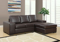 SECTIONAL SOFA IN IVORY OR BROWN BONDED LEATHER