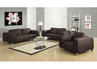 SOFA 7 CHAIR IN BROWN REAL MICROSUEDE WITH CHROME FEET